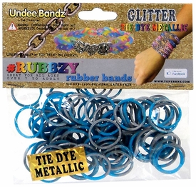 Undee Bandz Rubbzy 100 Metallic Silver & Blue Glitter Tie-Dye Rubber Bands with Clips