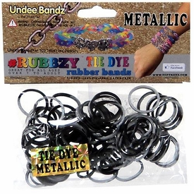 Undee Bandz Rubbzy 100 Metallic Black & Silver Tie-Dye Rubber Bands with Clips BLOWOUT SALE!