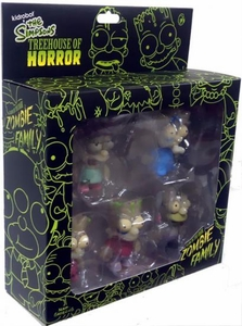 Simpsons Kidrobot Treehouse of Horror Figure Set  Zombie Family [Glow in the Dark]