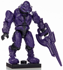 Halo Wars Mega Bloks LOOSE Mini Figure Purple Covenant Elite Commando with Carbine [Series 7]
