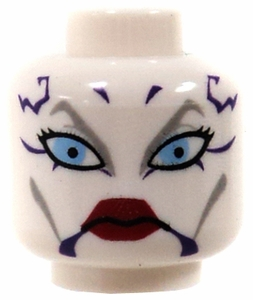 LEGO LOOSE HEAD ACCESSORY White Female Head with Blue Eyes, Red Lips & Tattoo Pattern