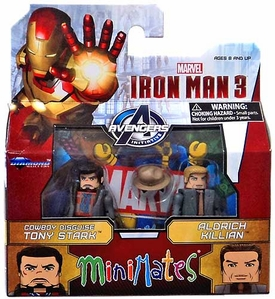 Marvel MiniMates Series 49 Iron Man 3 Movie Mini Figure 2-Pack Cowboy Disguise Tony Stark & Aldrich Killian