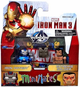 Marvel MiniMates Series 49 Iron Man 3 Movie Mini Figure 2-Pack Iron Patriot & Extremis Soldier