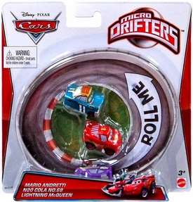 Disney / Pixar CARS Movie Micro Drifters 3-Pack Mario Andretti, N20 Cola No. 68 & Lightning McQueen
