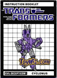 Transformers Loose Hasbro Vintage Instruction Booklet Cyclonus C-7