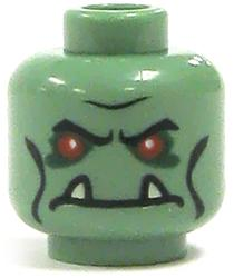 LEGO LOOSE Head Green Troll with Red Eyes & Fangs