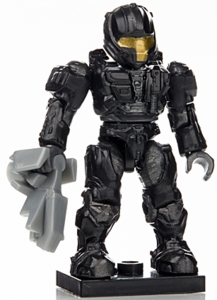Halo Wars Mega Bloks LOOSE Mini Figure Black & Gray UNSC Spartan CQB with Sentinel Beam [Series 7]