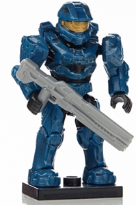 Halo Wars Mega Bloks LOOSE Mini Figure Blue UNSC Spartan Mark VI with Rail Gun [Series 7]