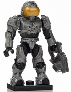 Halo Wars Mega Bloks LOOSE Mini Figure Light Gray UNSC Spartan Security with Mauler [Series 7]