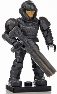 Halo Wars Mega Bloks LOOSE Mini Figure Metalic Gray UNSC Marine with Rail Gun [Series 7]