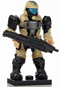 Halo Wars Mega Bloks LOOSE Mini Figure Tan UNSC ODST with Backpack & Assault Rifle