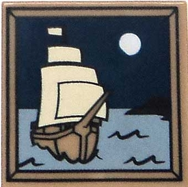 LEGO LOOSE Accessory 2 x 2 Dark Tan Tile of Ship Sailing Under the Moon