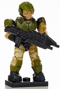 Halo Wars Mega Bloks LOOSE Mini Figure UNSC Green & Tan Camouflage Marine with Assault Rifle [Series 7]