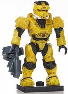 Halo Wars Mega Bloks LOOSE Mini Figure Yellow UNSC Spartan EOD with Mauler [Series 7]