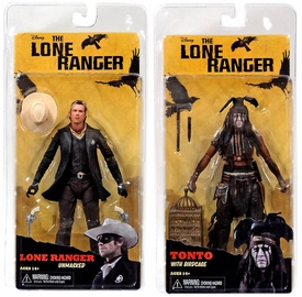 NECA Lone Ranger Movie Series 2 Set of Both Action Figures [Unmasked Lone Ranger & Tonto & Birdcage] BLOWOUT SALE!