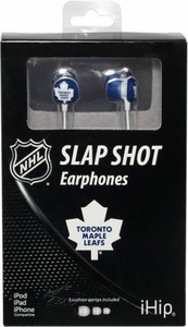 iHip NHL Hockey Sports Earphones Toronto Maple Leafs Logo Earbuds