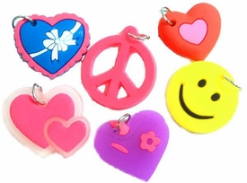 Charms for Rainbow Band Loom Bracelets Peace, Hearts & Smiley Chams [6 Charms]
