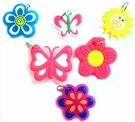 Charms for Rainbow Band Loom Bracelets Sun, Flowers & Butterfly Chams [6 Charms]