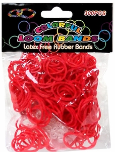 Colorful Loom Bands 300 Red Rubber Bands with 'S' Clips