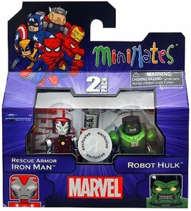 Marvel MiniMates Exclusive Mini Figure 2-Pack Rescue Armor Iron Man & Robot Hulk