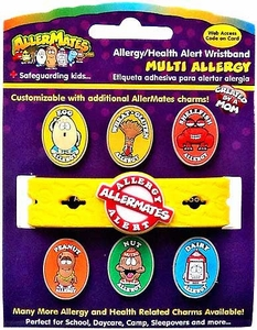 AllerMates Multi Allergy Wristband Plus Six Allergy Charms [Includes Shellfish Charm!]