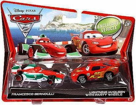 Disney / Pixar CARS 2 Movie 1:55 Die Cast Car 2-Pack Francesco Bernoulli & Lightning McQueen with Party Wheels Hot! BLOWOUT SALE!