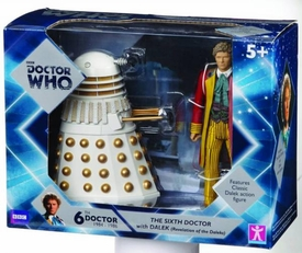 Doctor Who Action Figure 2-Pack 6th Doctor & White Dalek Pre-Order ships April