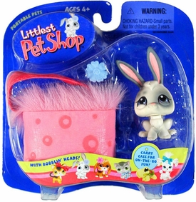 Littlest Pet Shop Pets On The Go Figure White Bunny with Pink Carry Case