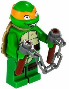 LEGO Teenage Mutant Ninja Turtles LOOSE Mini Figure Michelangelo with Nunchucks