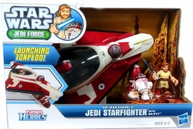 Star Wars Playskool Jedi Force Deluxe Vehicle Obi-Wan Kenobi's Jedi Starfighter with R4-P17