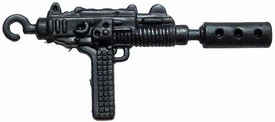 Generic 3 3/4 Inch LOOSE Action Figure Accessory Metallic Blue Uzi SMG with Silencer & Hook