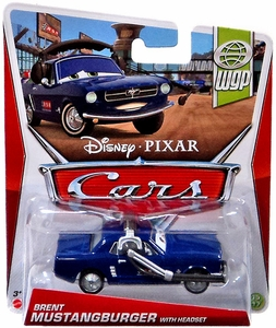 Disney / Pixar CARS MAINLINE 1:55 Die Cast Car Brent Mustangburger With Headset [WGP 15/17]