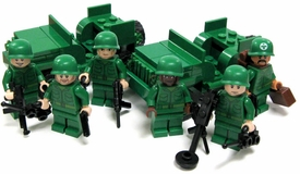 LEGO Military LOOSE Custom Mini Figure U.S. Platoon Unit (Sgt. ,Medic, Rifleman, Machine Gunner, Minesweeper, Submachine Gunner & 2 Jeeps!)