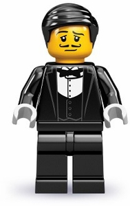 LEGO Minifigure Collection Series 9 LOOSE Mini Figure Waiter with Bottle & Serving Tray