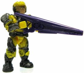 Halo Wars Mega Bloks LOOSE Mini Figure UNSC Yellow Marine with Helmet, Backpack & Beam Rifle