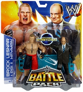 Mattel WWE Wrestling Basic Series 25 Action Figure 2-Pack Paul Heyman & Brock Lesnar [Stretcher!]