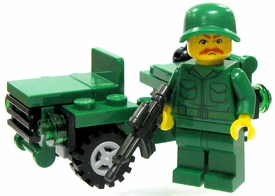 ToyWiz Custom Vehicle Battle-Ready Soldier Minifigure & Mini Jeep Featuring BrickArms Weapons & Gear Random Head & Weapon!