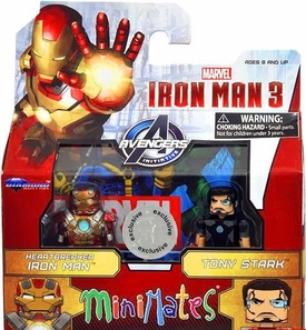 Marvel MiniMates Exclusive Iron Man 3 Movie Mini Figure 2-Pack Heartbreaker Iron Man & Tony Stark