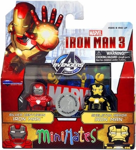 Marvel MiniMates Exclusive Iron Man 3 Movie Mini Figure 2-Pack Silver Centurion Iron Man & Skeleton Armor Iron Man