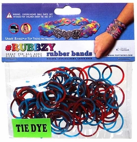 Undee Bandz Rubbzy 100 Red & Blue Tie-Dye Rubber Bands with Clips