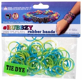 Undee Bandz Rubbzy 100 Green & Blue Tie-Dye Rubber Bands with Clips