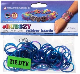 Undee Bandz Rubbzy 100 Blue & Purple Tie-Dye Rubber Bands with Clips