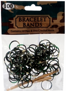 D.I.Y. Do it Yourself Bracelet Bands 100 Green, Brown & Black Camo Tie-Dye Rubber Bands with Hook Tool & Clips MEGA Hot!