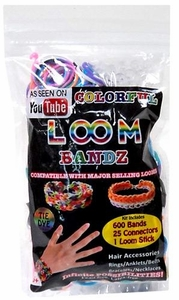 Colorful Loom Bandz 600 Tie-Dye Rubber Bands with 'S' Clips