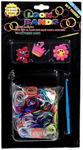 Loom Bands 300 Rainbow Rubber Bands with 'S' Clips, Hook Tool & Charms