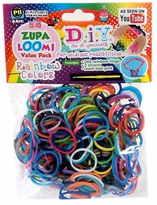 D.I.Y. Do it Yourself Bracelet Zupa Loomi Bandz 300 Rainbow Rubber Bands with 'S' Clips, Hook Tool & Charms