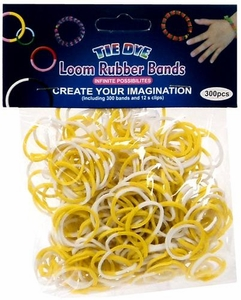 Tie-Dye Loom Bands 300 Yellow & White Rubber Bands with 'S' Clips
