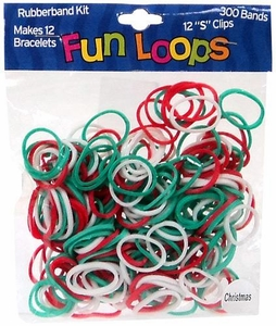 Fun Loops 300 Christmas Red, Green & White Rubber Bands with 'S' Clips