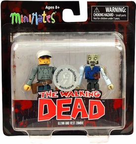 Walking Dead Minimates Series 3 Exclusive Mini Figure 2-Pack Glenn & Vest Zombie
