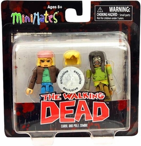 Walking Dead Minimates Series 3 Exclusive Mini Figure 2-Pack Carol & Pole Zombie